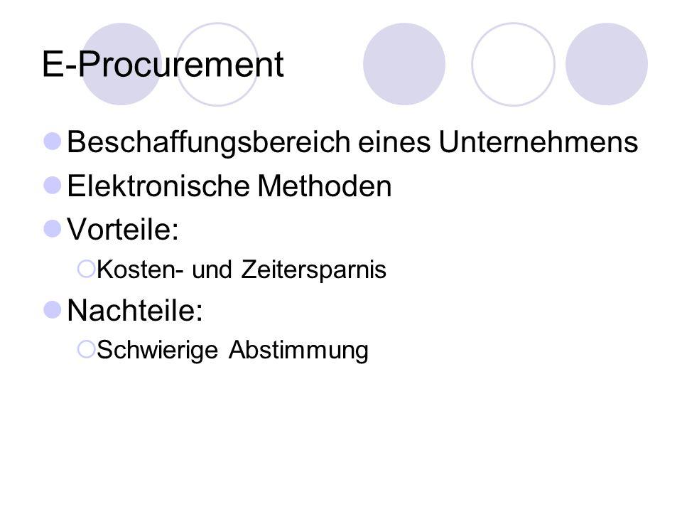 E-Procurement Beschaffungsbereich eines Unternehmens