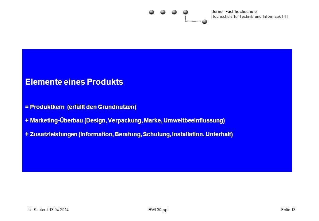 Elemente eines Produkts = Produktkern (erfüllt den Grundnutzen) + Marketing-Überbau (Design, Verpackung, Marke, Umweltbeeinflussung) + Zusatzleistungen (Information, Beratung, Schulung, Installation, Unterhalt)