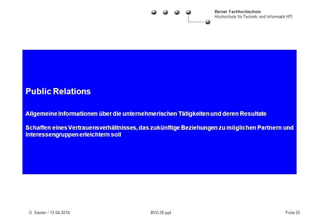 Public Relations Allgemeine Informationen über die unternehmerischen Tätigkeiten und deren Resultate Schaffen eines Vertrauensverhältnisses, das zukünftige Beziehungen zu möglichen Partnern und Interessengruppen erleichtern soll