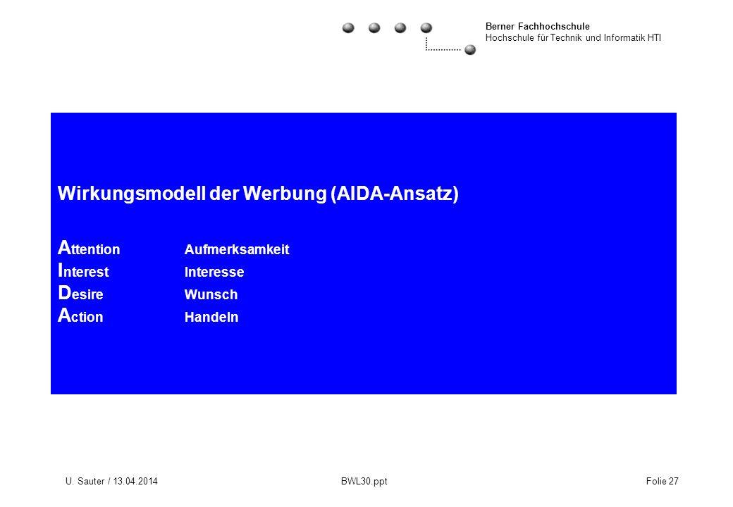Wirkungsmodell der Werbung (AIDA-Ansatz) Attention