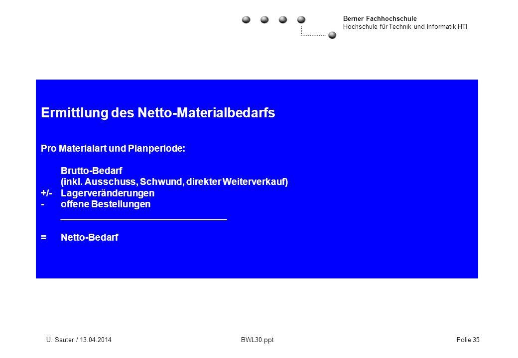 Ermittlung des Netto-Materialbedarfs Pro Materialart und Planperiode: