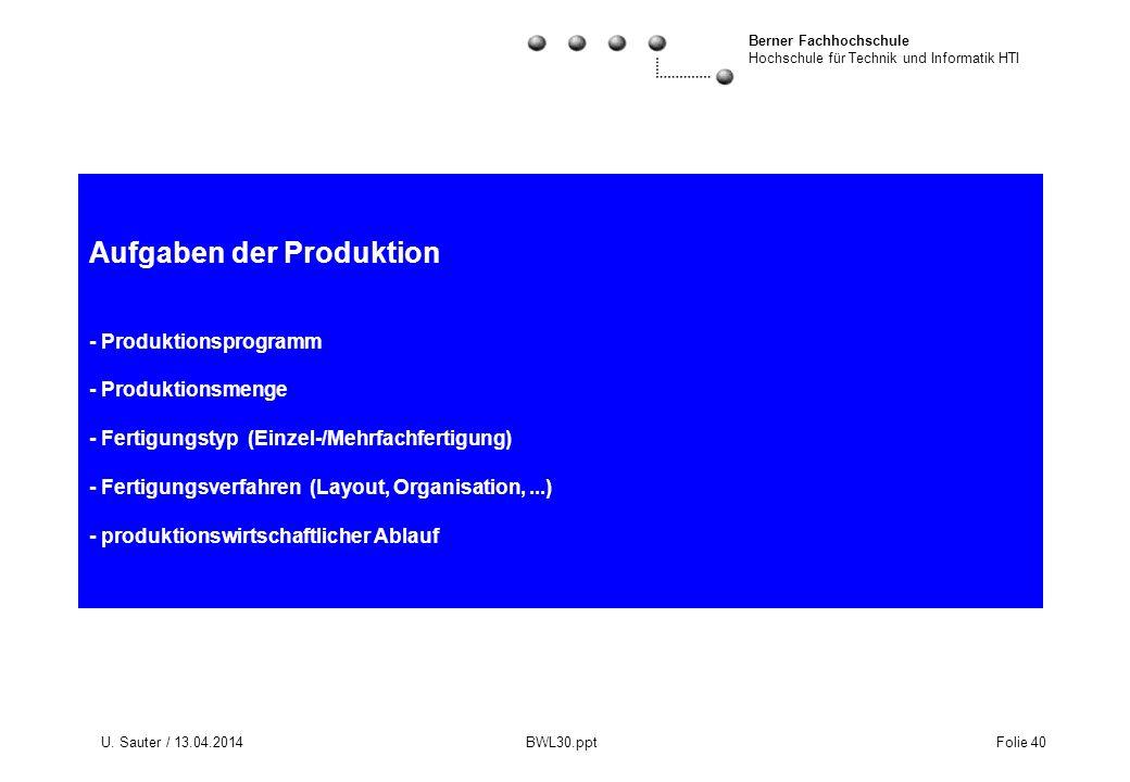 Aufgaben der Produktion - Produktionsprogramm - Produktionsmenge - Fertigungstyp (Einzel-/Mehrfachfertigung) - Fertigungsverfahren (Layout, Organisation, ...) - produktionswirtschaftlicher Ablauf