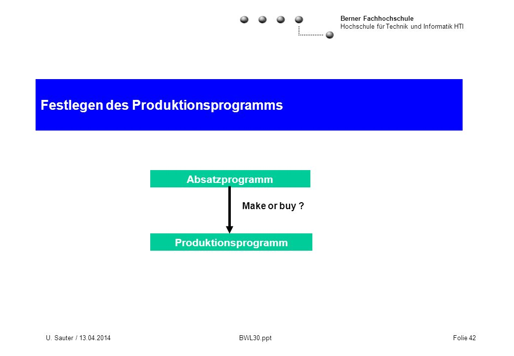 Festlegen des Produktionsprogramms