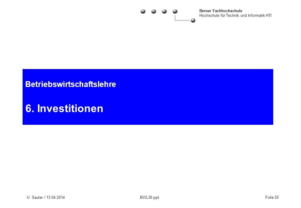 Betriebswirtschaftslehre 6. Investitionen