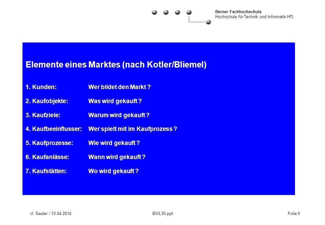 Elemente eines Marktes (nach Kotler/Bliemel) 1. Kunden: