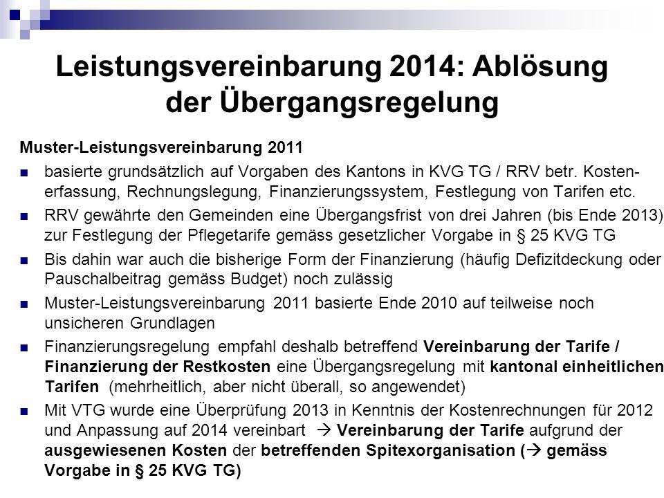 Leistungsvereinbarung 2014: Ablösung der Übergangsregelung