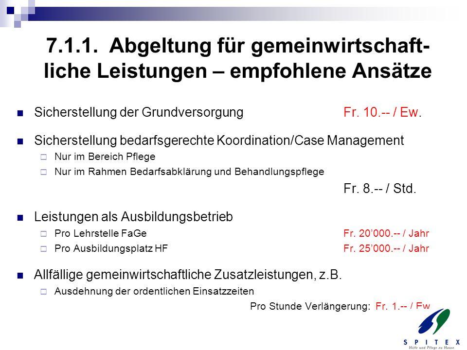 7.1.1. Abgeltung für gemeinwirtschaft-liche Leistungen – empfohlene Ansätze