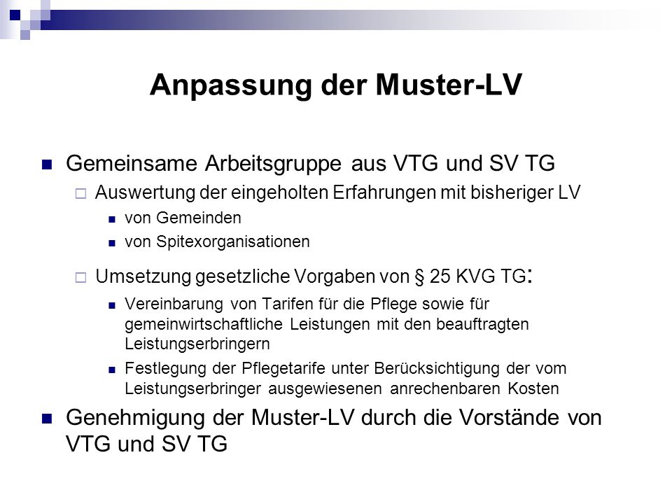 Anpassung der Muster-LV
