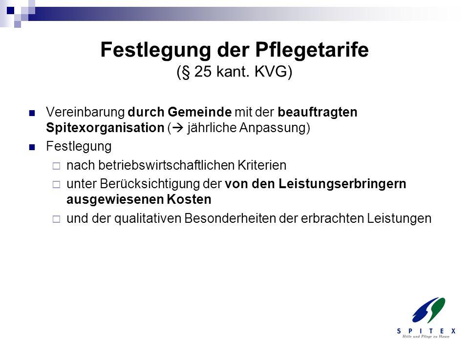 Festlegung der Pflegetarife (§ 25 kant. KVG)