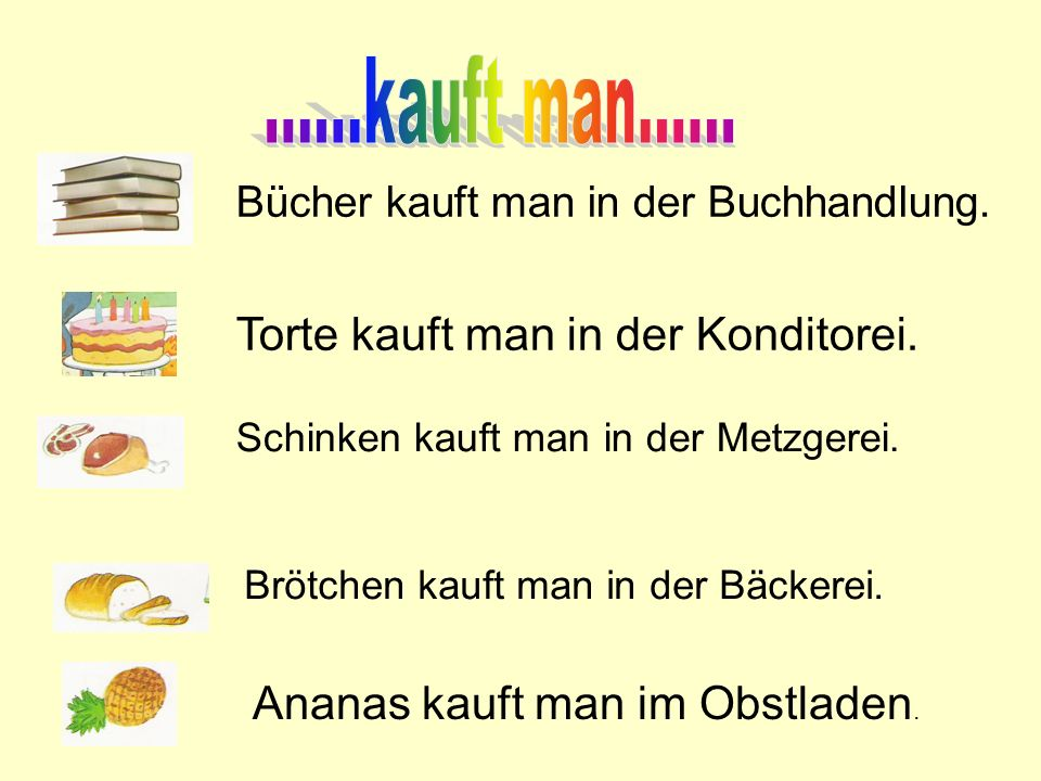 ......kauft man...... Torte kauft man in der Konditorei.