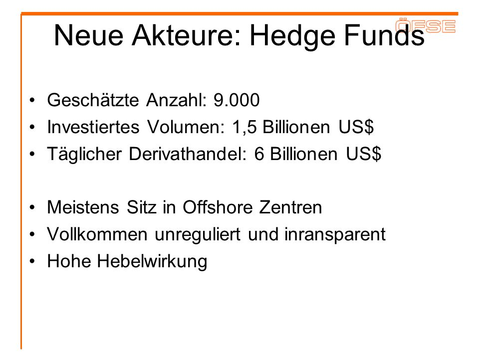 Neue Akteure: Hedge Funds