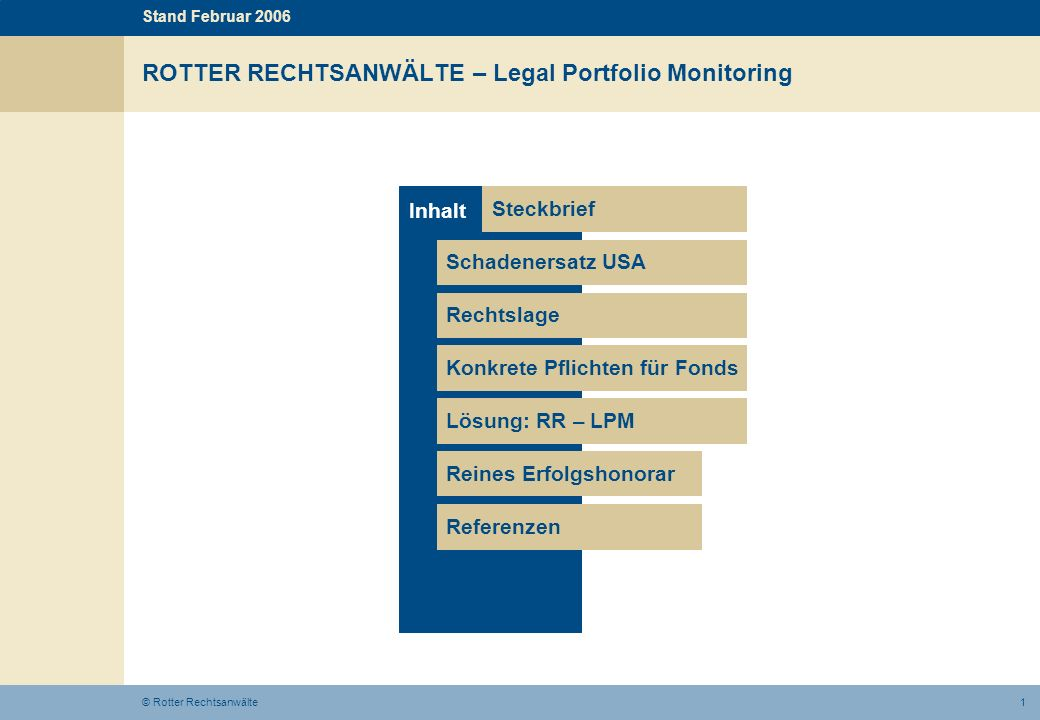 ROTTER RECHTSANWÄLTE – Legal Portfolio Monitoring