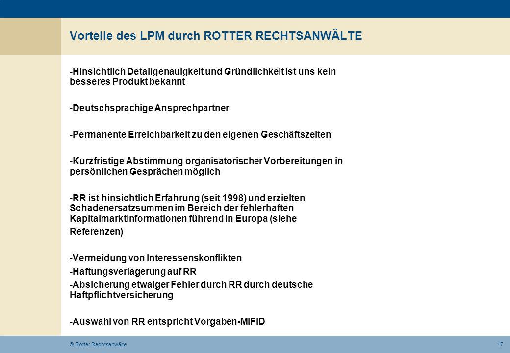 Vorteile des LPM durch ROTTER RECHTSANWÄLTE