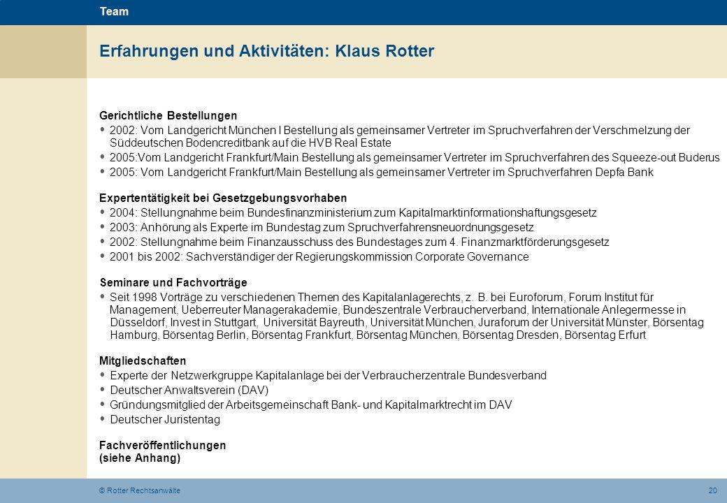 Erfahrungen und Aktivitäten: Klaus Rotter