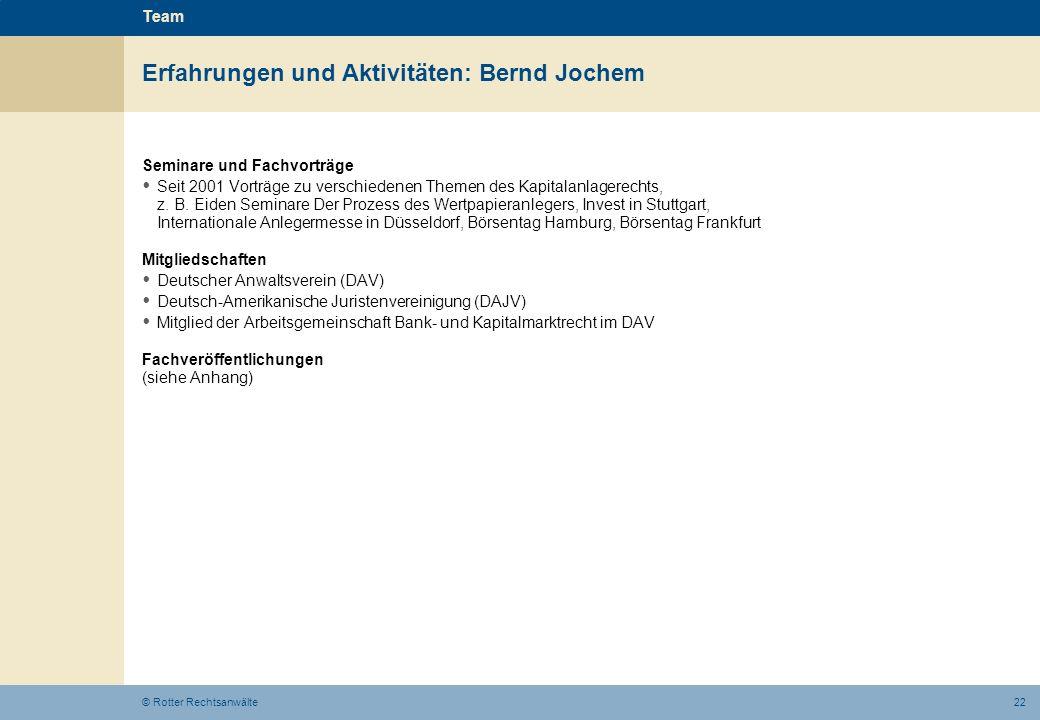 Erfahrungen und Aktivitäten: Bernd Jochem