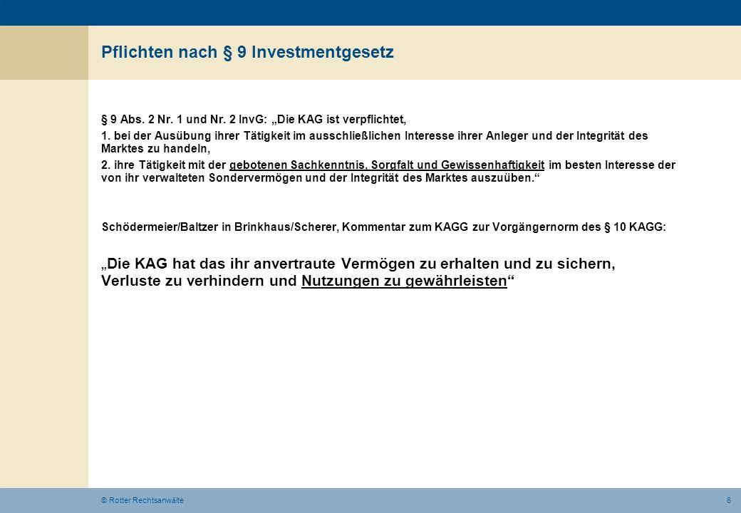 Pflichten nach § 9 Investmentgesetz