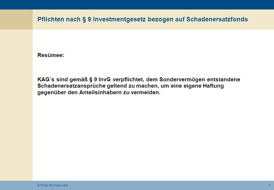 Pflichten nach § 9 Investmentgesetz bezogen auf Schadenersatzfonds