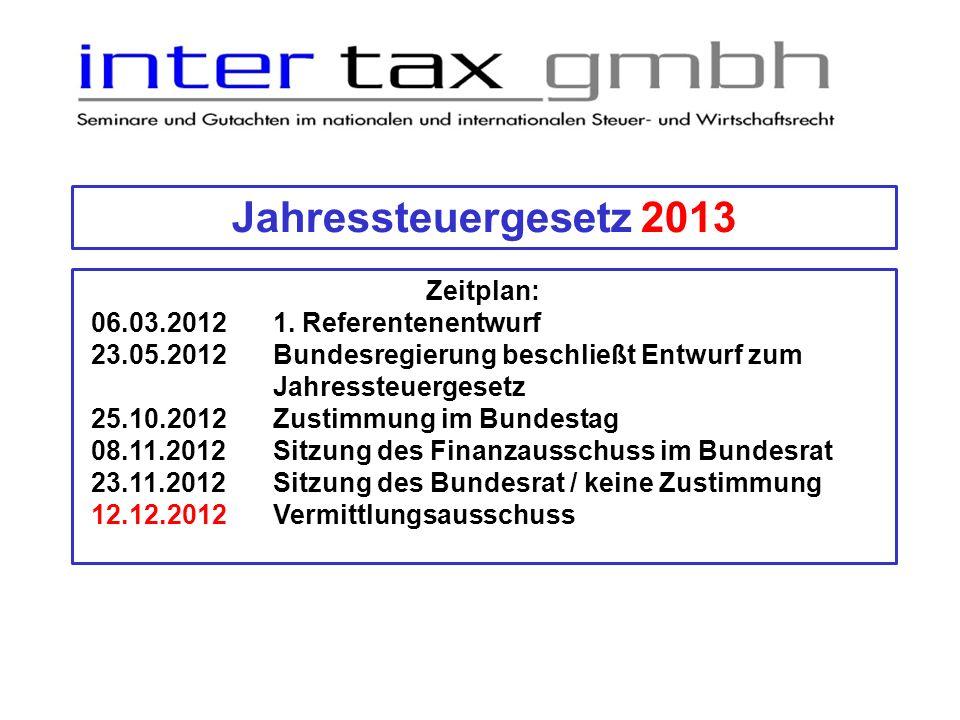 Jahressteuergesetz 2013 Zeitplan: 06.03.2012 1. Referentenentwurf