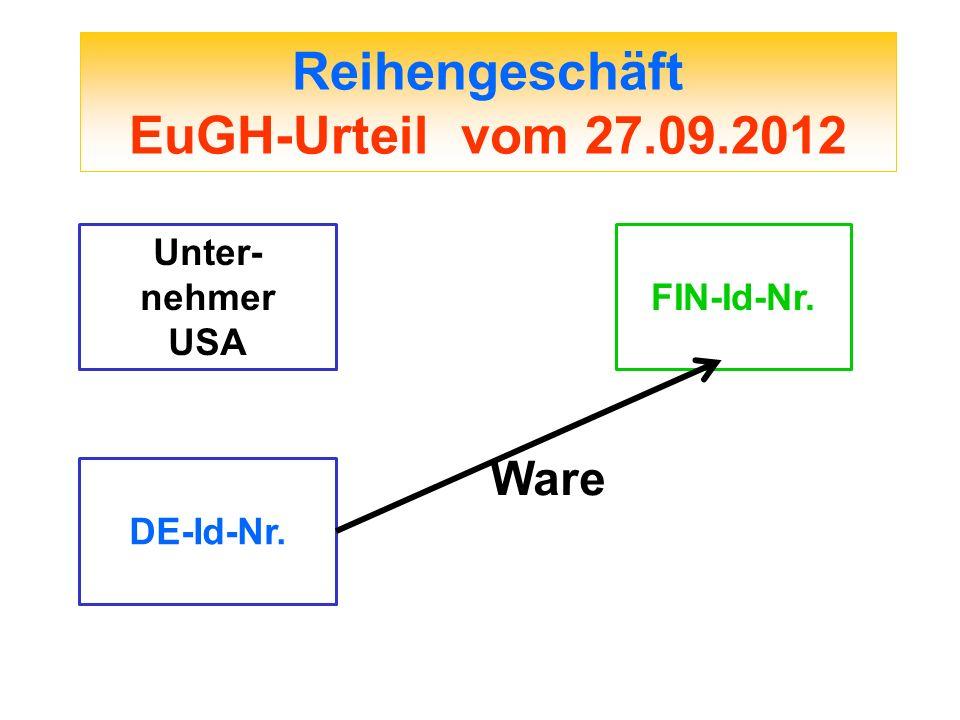 Reihengeschäft EuGH-Urteil vom 27.09.2012