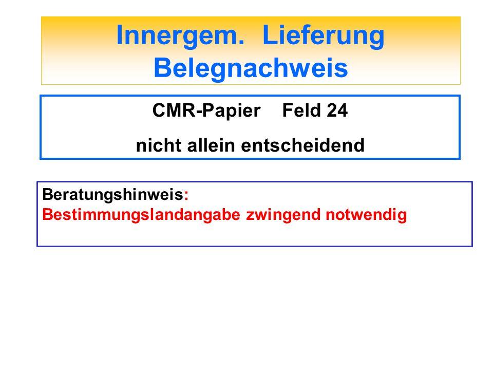 Innergem. Lieferung Belegnachweis