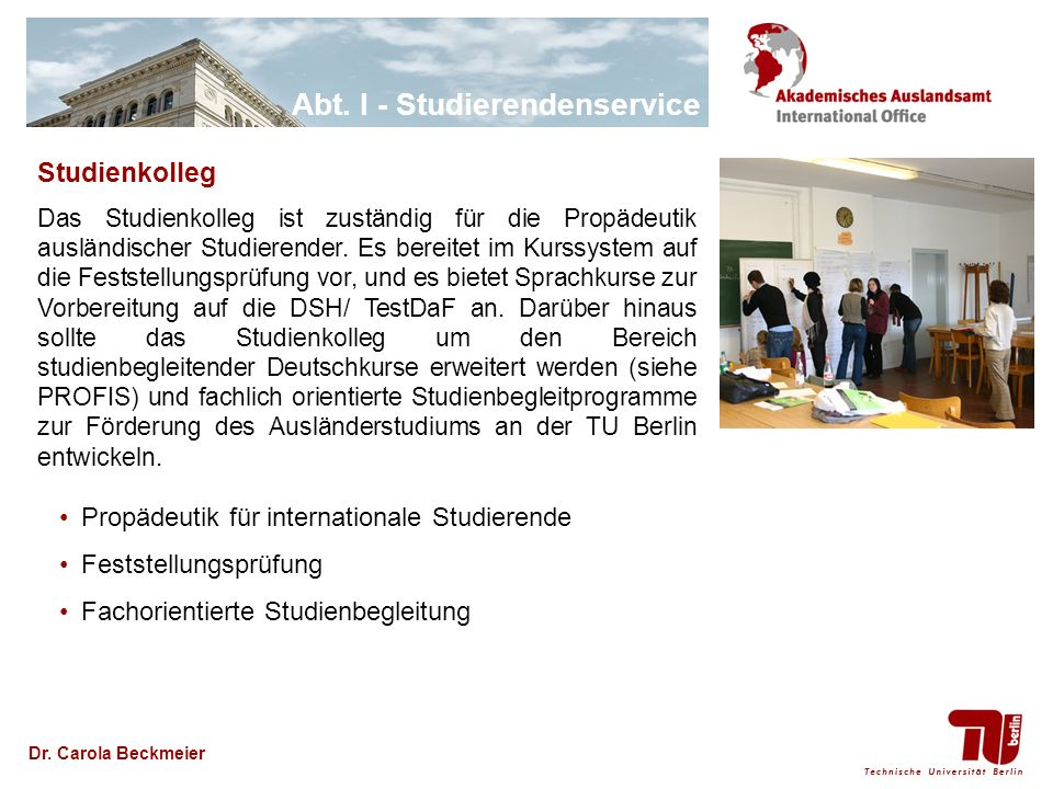 Studienkolleg Propädeutik für internationale Studierende