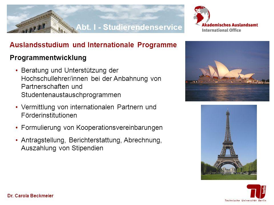 Auslandsstudium und Internationale Programme Programmentwicklung
