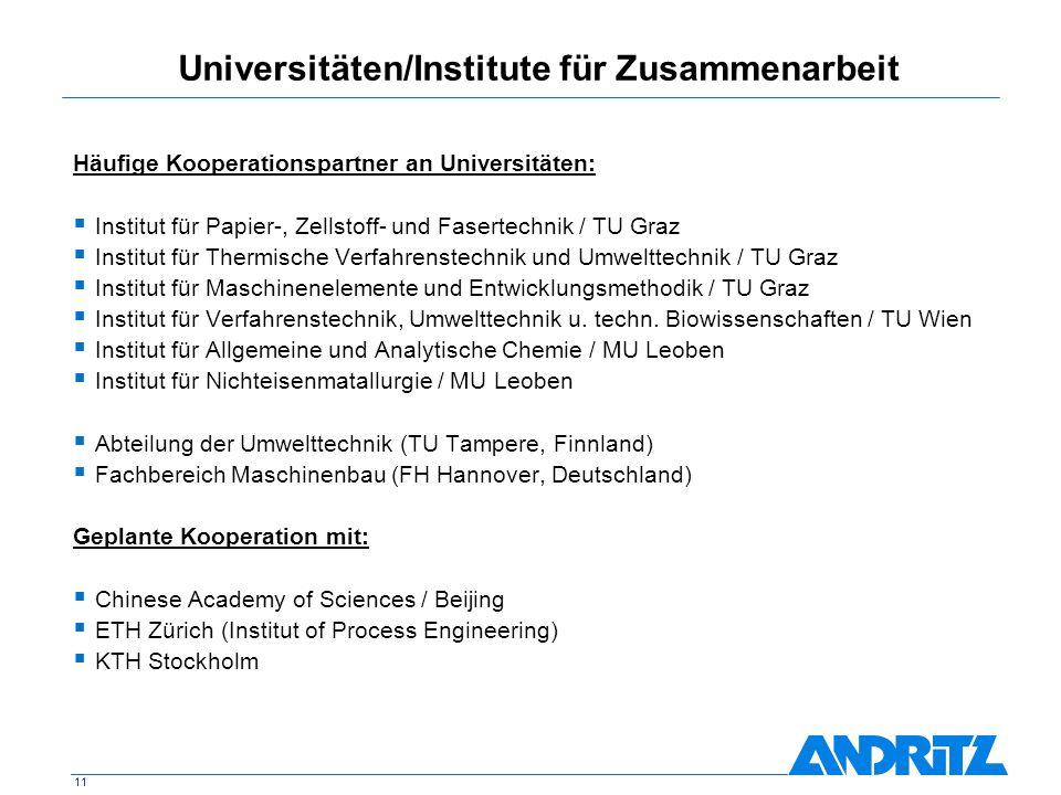 Universitäten/Institute für Zusammenarbeit