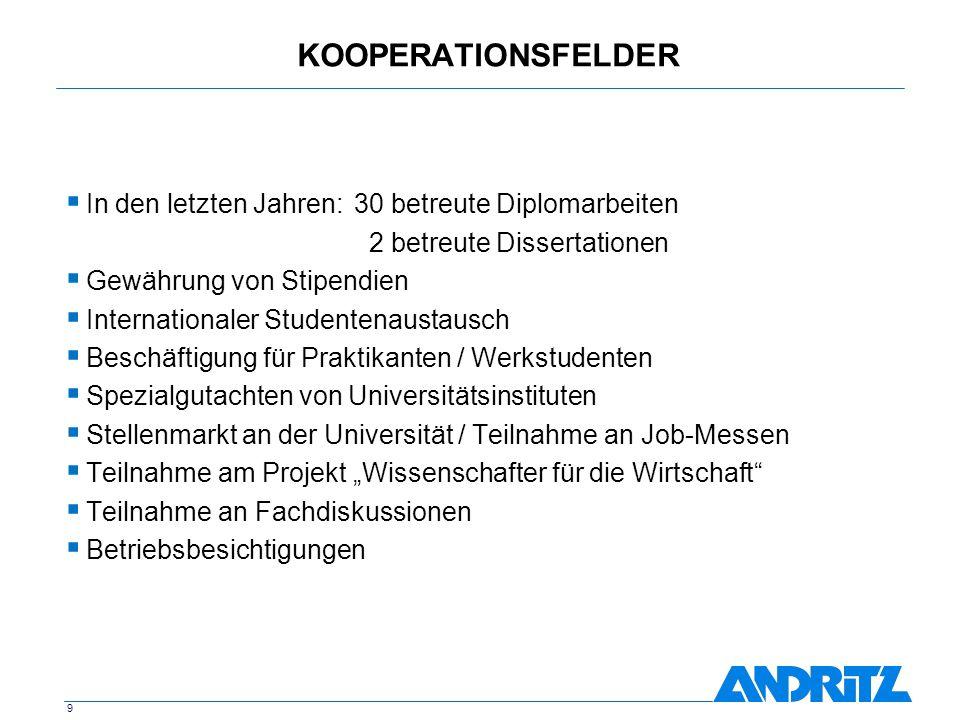 KOOPERATIONSFELDER In den letzten Jahren: 30 betreute Diplomarbeiten
