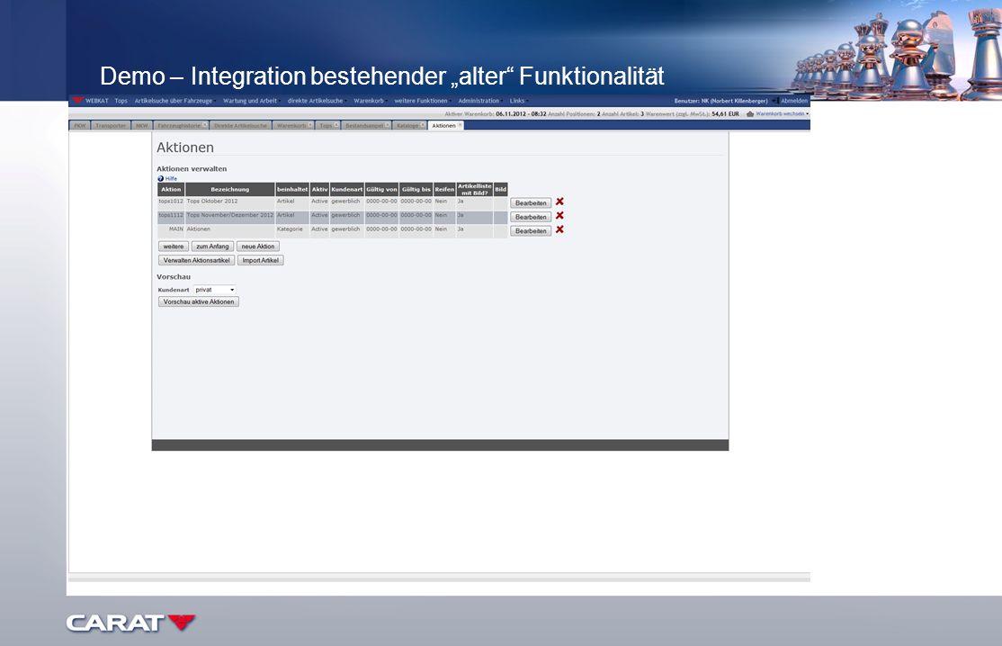 """Demo – Integration bestehender """"alter Funktionalität"""