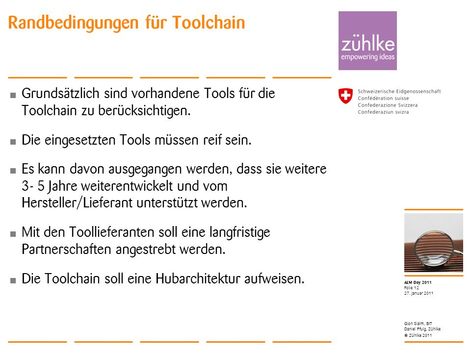 Randbedingungen für Toolchain