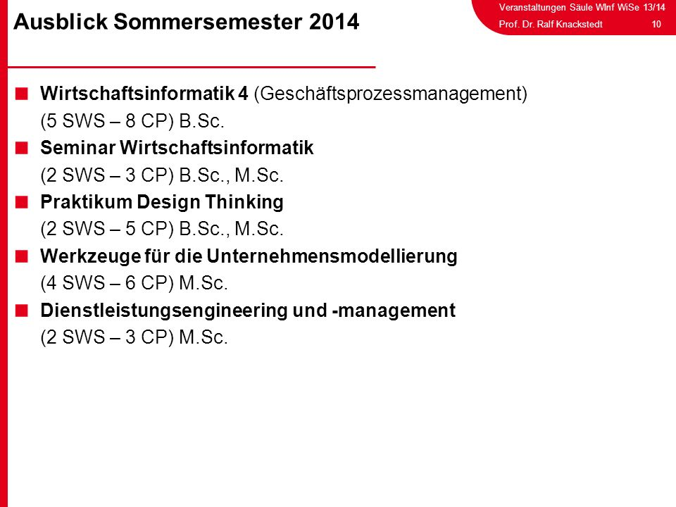 Ausblick Sommersemester 2014