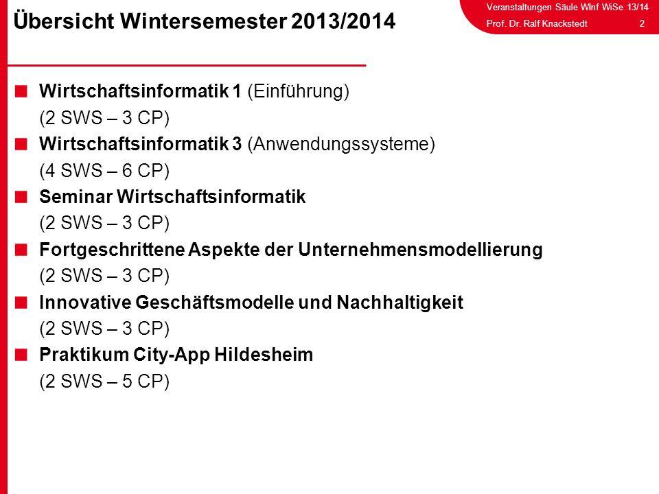 Übersicht Wintersemester 2013/2014