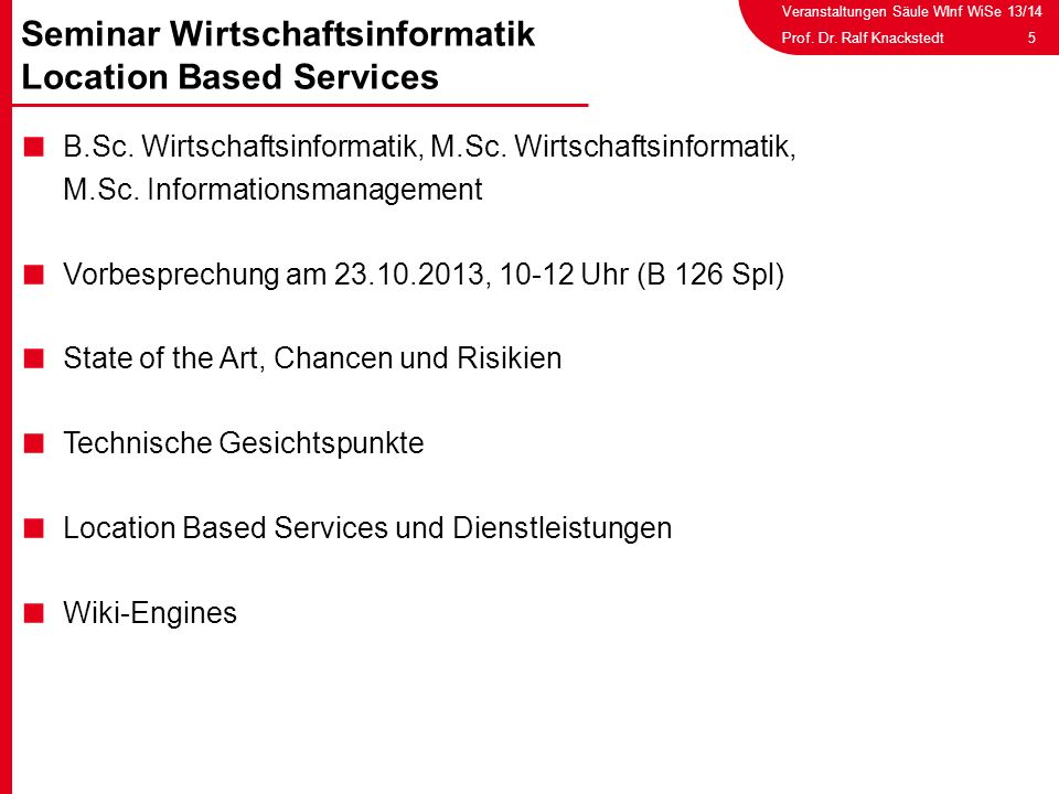 Seminar Wirtschaftsinformatik Location Based Services
