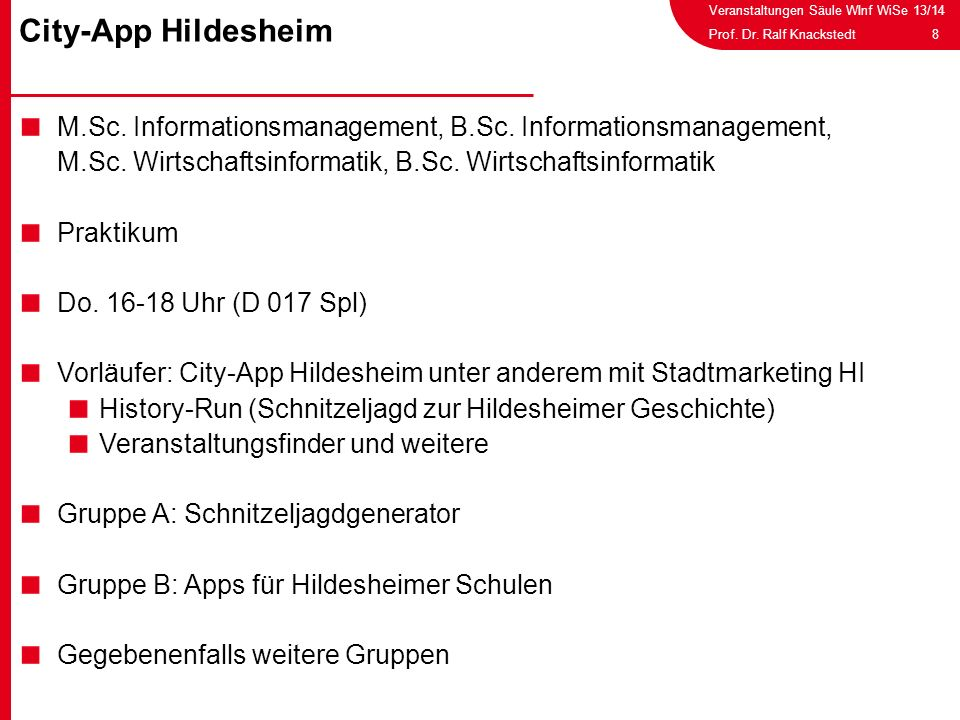 City-App Hildesheim M.Sc. Informationsmanagement, B.Sc. Informationsmanagement, M.Sc. Wirtschaftsinformatik, B.Sc. Wirtschaftsinformatik.