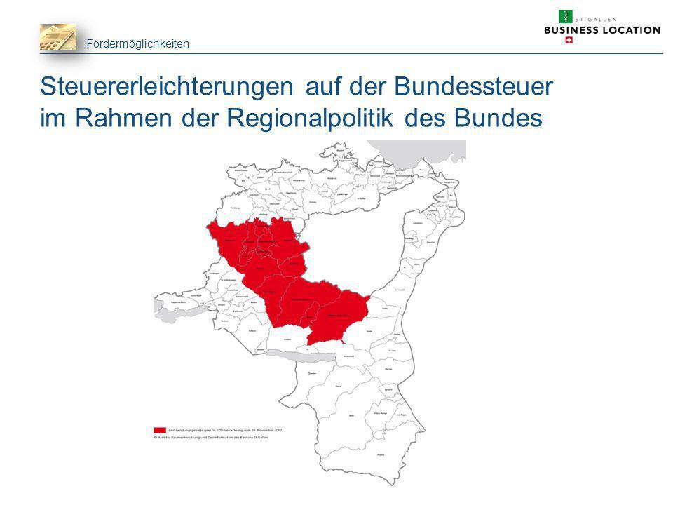 Steuererleichterungen auf der Bundessteuer im Rahmen der Regionalpolitik des Bundes