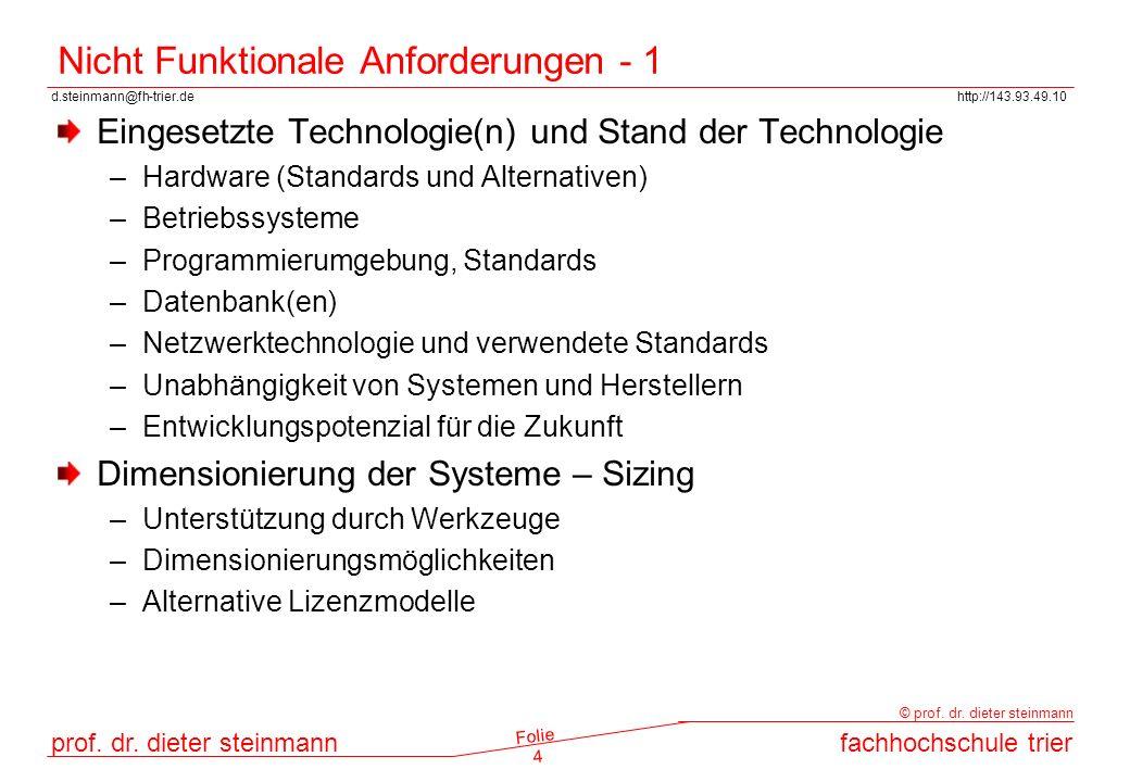 Nicht Funktionale Anforderungen - 1