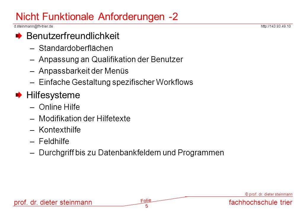 Nicht Funktionale Anforderungen -2