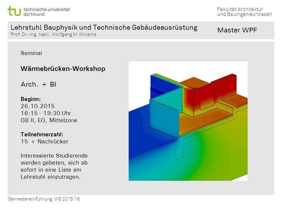 Wärmebrücken-Workshop Arch. + BI