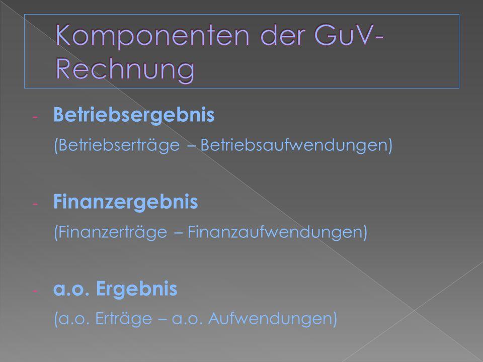 Komponenten der GuV-Rechnung
