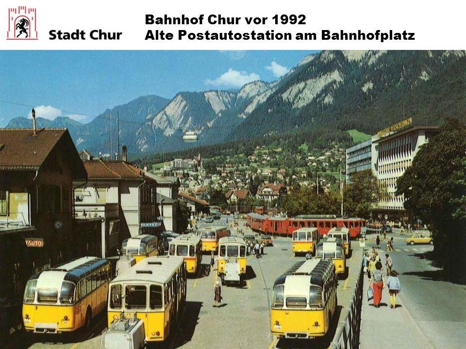 Bahnhof Chur vor 1992 Alte Postautostation am Bahnhofplatz