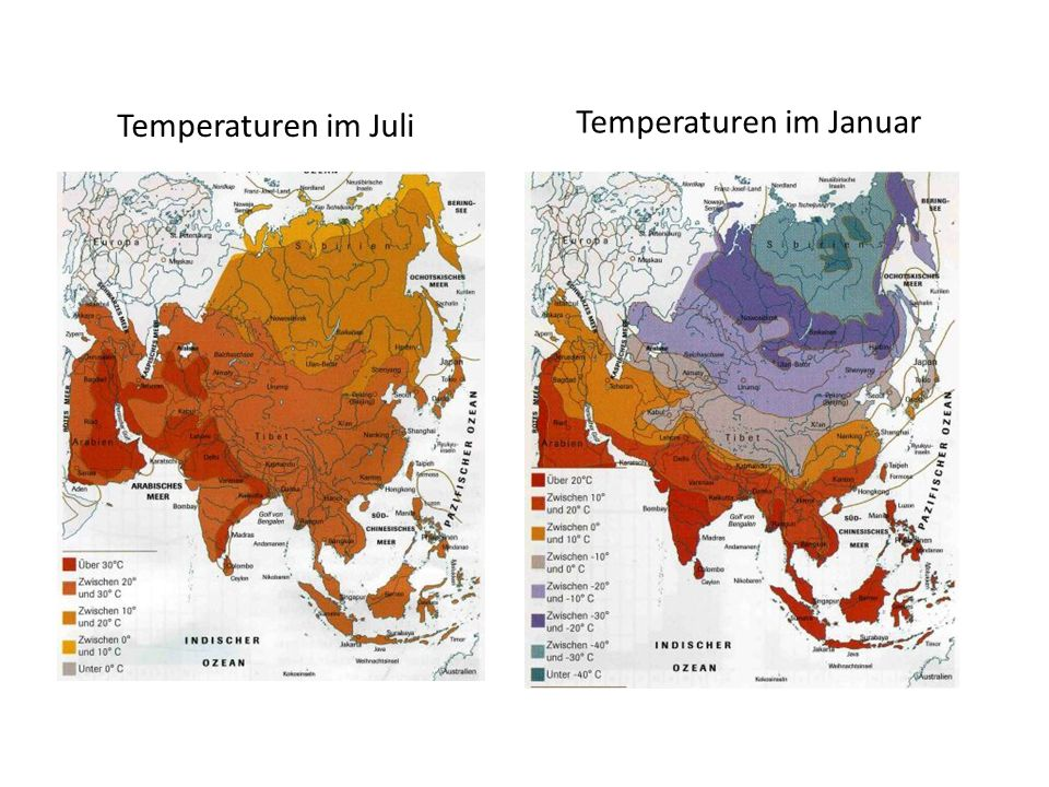 Temperaturen im Juli Temperaturen im Januar