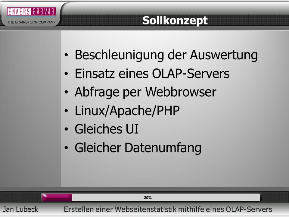 Beschleunigung der Auswertung Einsatz eines OLAP-Servers