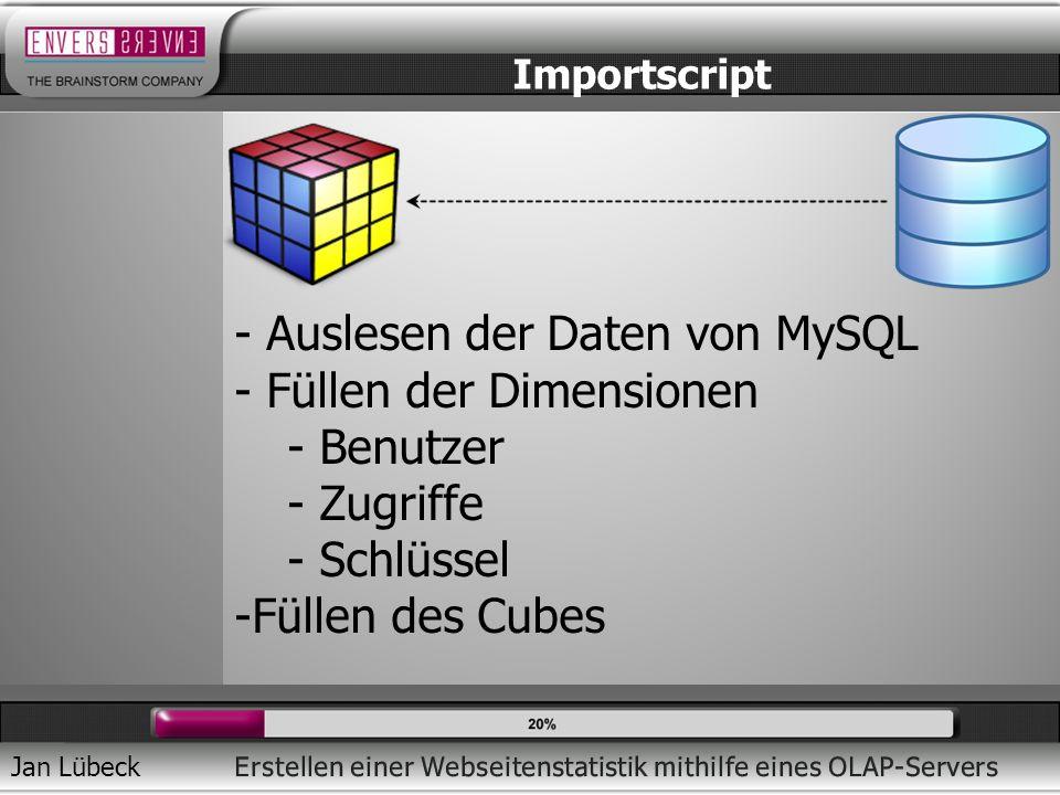Auslesen der Daten von MySQL Füllen der Dimensionen Benutzer Zugriffe
