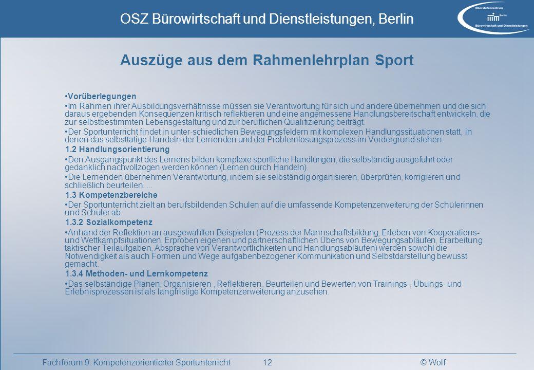 Auszüge aus dem Rahmenlehrplan Sport
