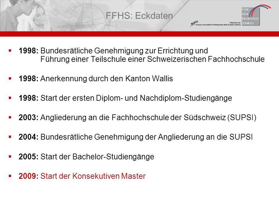 FFHS: Eckdaten 1998: Bundesrätliche Genehmigung zur Errichtung und Führung einer Teilschule einer Schweizerischen Fachhochschule.