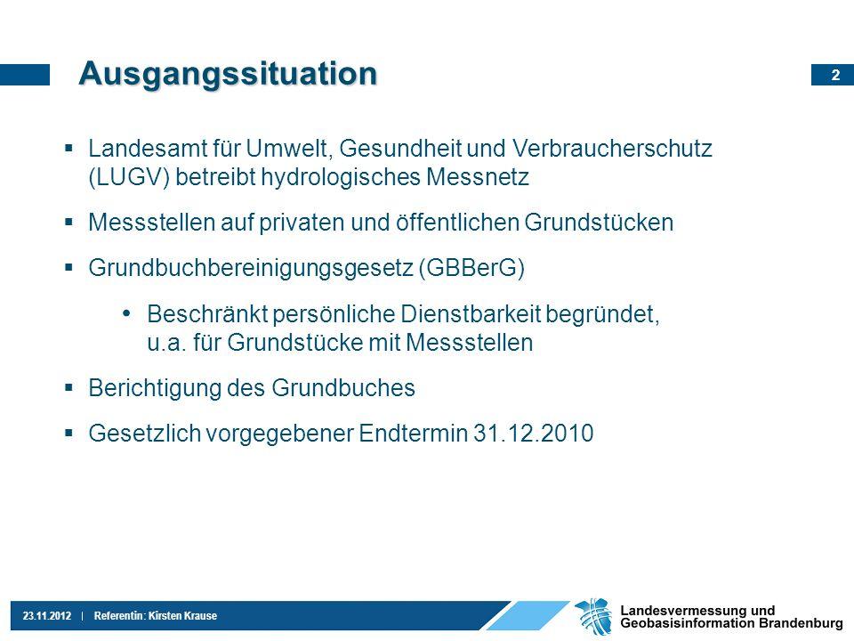 Ausgangssituation Landesamt für Umwelt, Gesundheit und Verbraucherschutz (LUGV) betreibt hydrologisches Messnetz.