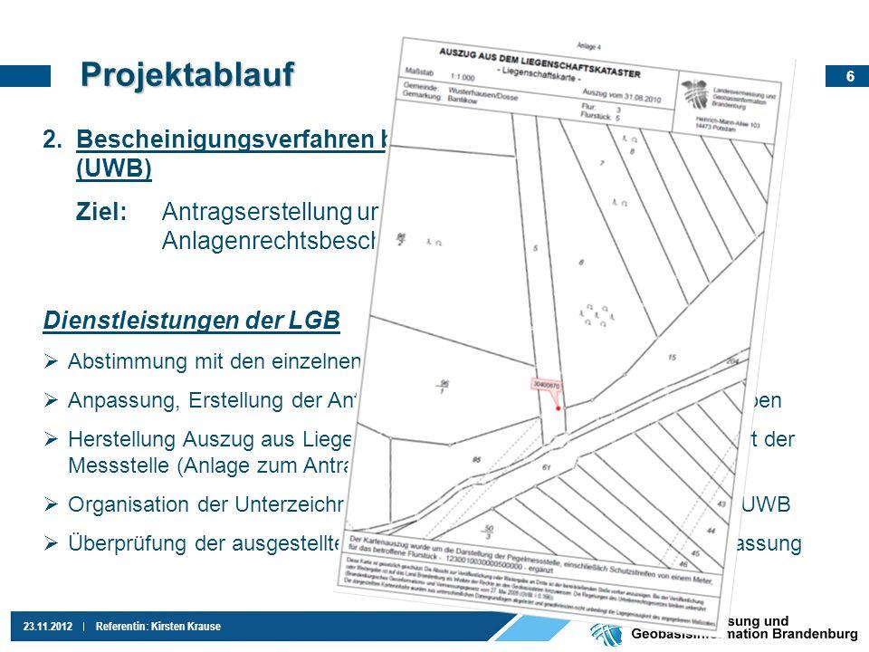 Projektablauf Bescheinigungsverfahren bei den Unteren Wasserbehörden (UWB)