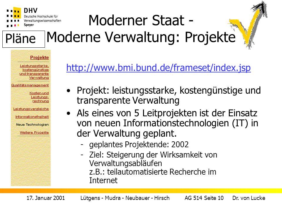 Moderner Staat - Moderne Verwaltung: Projekte