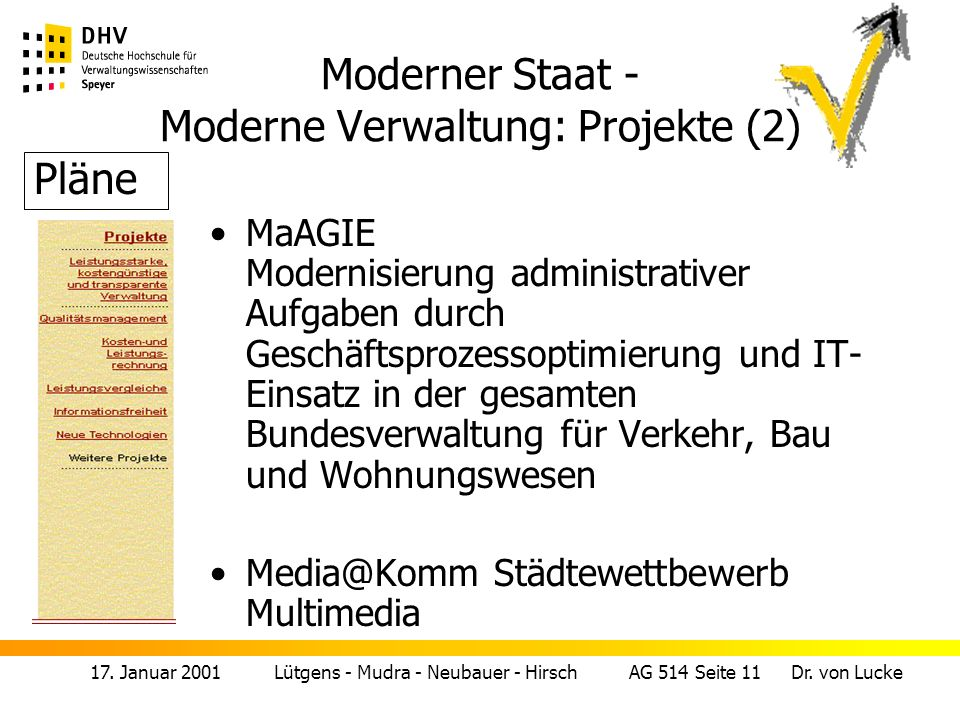 Moderner Staat - Moderne Verwaltung: Projekte (2)