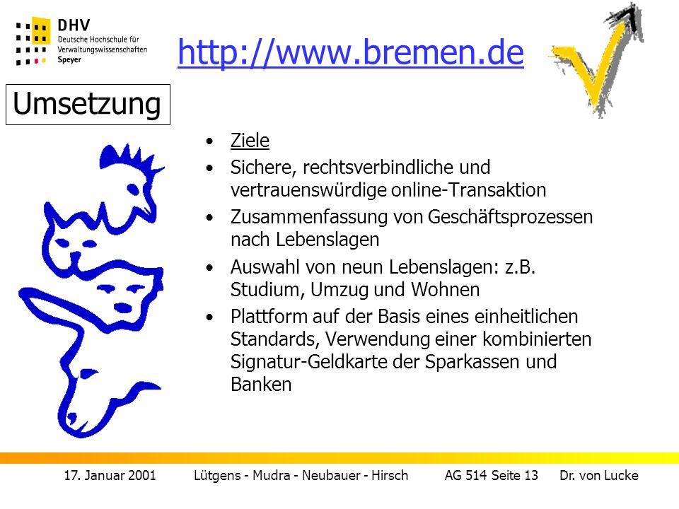 http://www.bremen.de Umsetzung Ziele